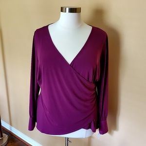 PLUS Plum Wrap Blouse